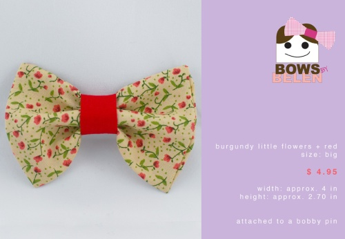 burgundy little flowers and red Spring handmade hair bow