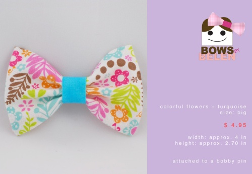 colorful flowers and turquoise Spring handmade hair bow