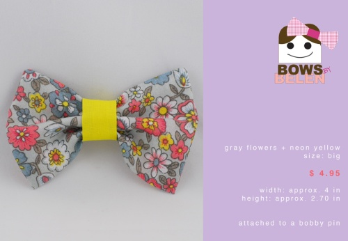 gray flowers and neon yellow Spring handmade hair bow