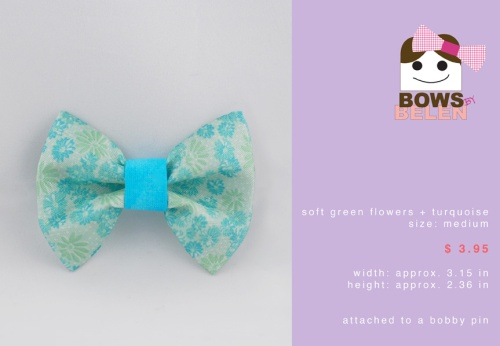 light green and turquoise Spring handmade hair bow
