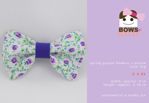 Spring purple flowers and purple Spring handmade hair bow
